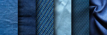 Collage Of Blue Fabric Texture...