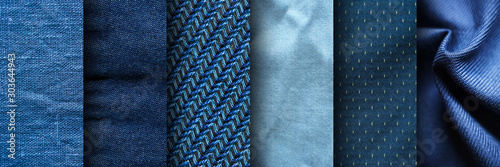 Foto Collage of blue fabric textures. Blue Fabric Set