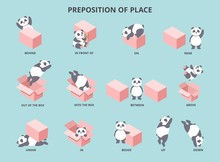 Cute Panda With Prepositions Of Place Set Vector Illustration. Collection Of Pretty Small Bear Positioning Against Big Box To Help Children Study English Flat Style Concept