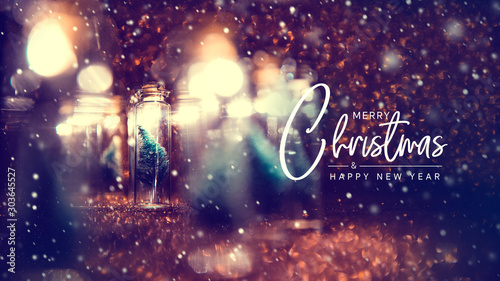 Fotografiet  Merry Christmas and happy new year concept, Close up, Elegant Christmas tree in glass jar decoration