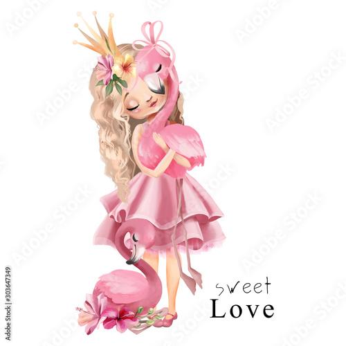 Śliczna księżniczka w różowej sukience i złotej koronie z flamingiem i kwiatami