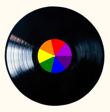 Rainbow Black Vinyl Record Isolated On White Background.  The Rainbow Colors Are Used By The Lgbt Community. The Disk Is Also Called Newton Disk