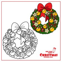Christmas Wreath With Golden B...