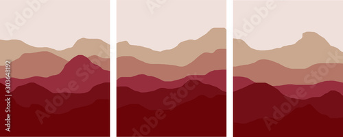 Montage in der Fensternische Braun red mountains and hills minimal landscape illustration set red clay colorful foggy environments vector simple art