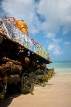 An Abandoned Tank With Graffiti On Culebra Island