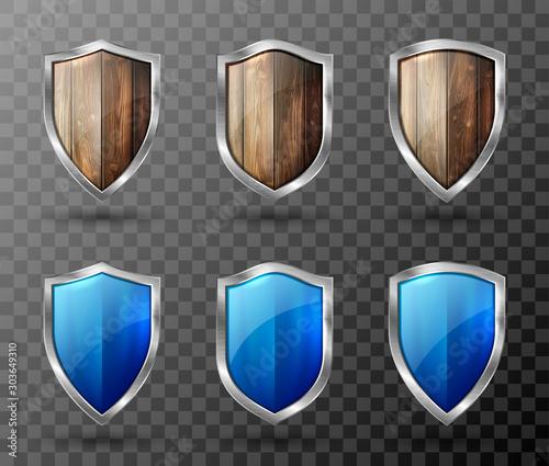 Obraz na plátně Wooden shield metal frame realistic vector illustration