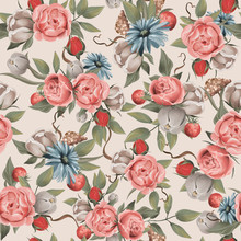 Beautiful Floral Seamless, Tileable, Watercolor Pattern Roses And Peonies On Beige Background