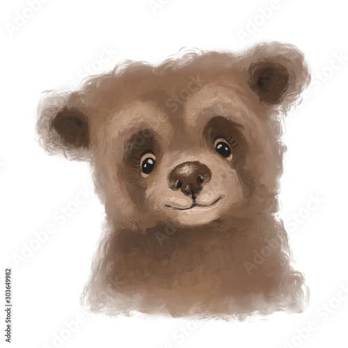 Cute hand drawn bear, woodland watercolor animal portrait Wall mural
