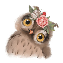 Cute Hand Drawn Owl In Floral Wreath, Flowers Bouquet, Woodland Watercolor Animal Portrait