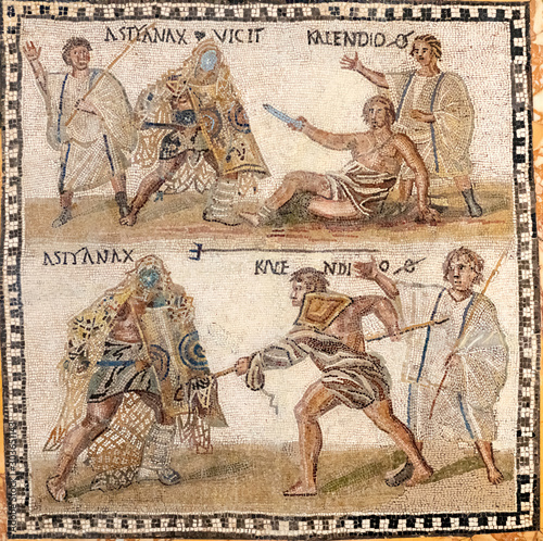 Photo gladiators fighting scene
