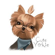 Cute Little Hipster Boy Dog, P...