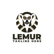 Lemur Head & Tail Logo Vector Icon Illustration