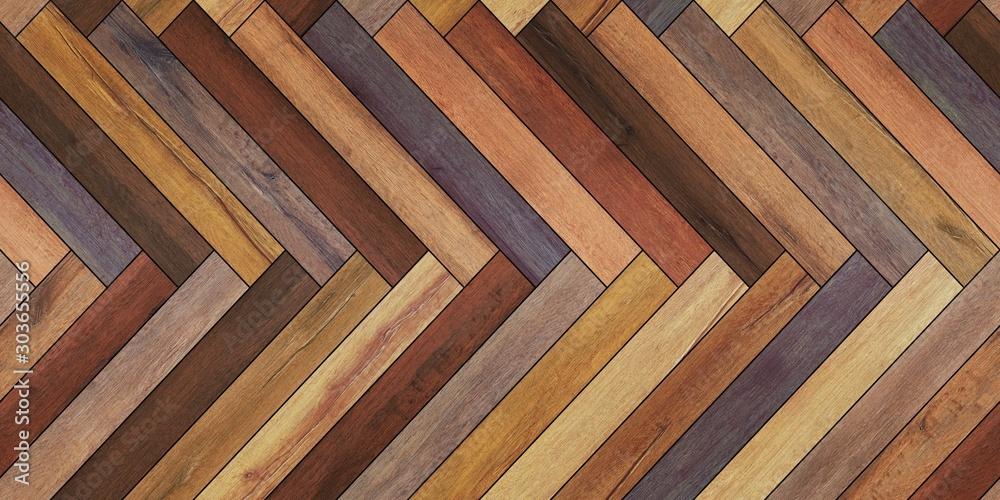 Seamless wood parquet texture horizontal herringbone various - obrazy, fototapety, plakaty