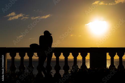 Photo admirador do por do sol