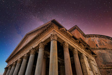 Pantheon In Rome, Italy At Night