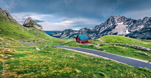 Montage in der Fensternische Pistazie Dramatic summer scene of Sedlo pass. Splendid morning view of Durmitor National Prk, Montenegro, Europe. Beautiful world of Mediterranean countries. Traveling concept background.