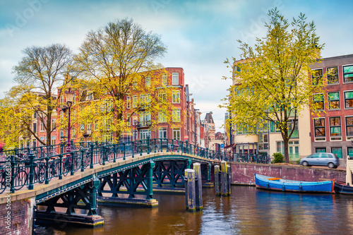 Captivating autumn scene of Amsterdam city Canvas Print