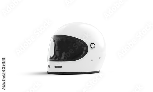 Fotografie, Tablou Blank white motorcycle helmet with glass mockup isolated