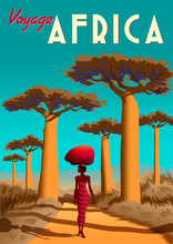 Africa Travel Poster With A Masai Girl In The First Plan And Baobabs And Savannah In The Background.