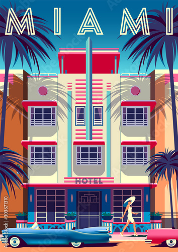 Photo Sunny day in Miami with hotel in Art Deco Style in the first plan