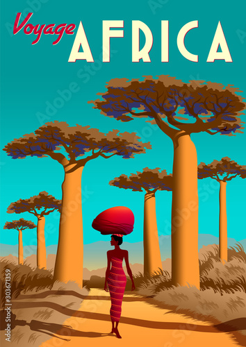 Fotografie, Obraz Africa travel poster with a masai girl in the first plan and baobabs and savannah in the background