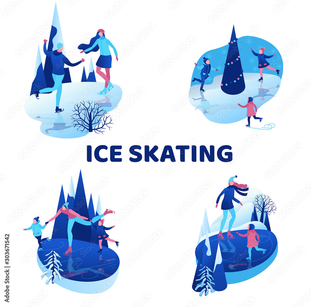 Fototapety, obrazy: Ice skating isometric people illustration set, 3d vector winter sport family, christmas tree decorated, kids playing and riding skate, simple skater, skating rink, outdoor snow games, ui, ux design