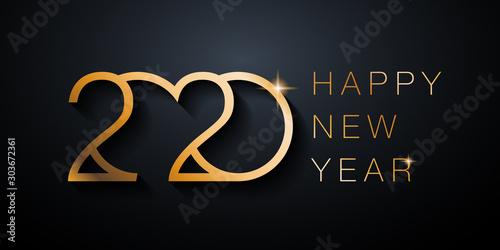 Canvastavla Carte de vœux 2020, couleur dorée et lettre moderne