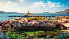 Stunning Summer View Of Saint Theodore Lighthouse Sunny Morning Landscape Of Argostoli Vilagito Torony Nature Preserve. Wonderful Outdoor Scene Of Kefalonia Island, Greece, Europe.
