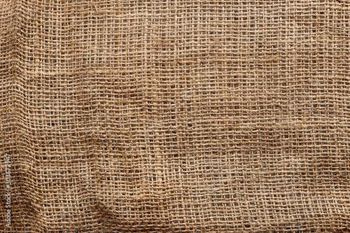 Obraz Natural crumpled burlap texture background, close up - fototapety do salonu