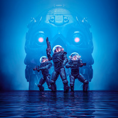 Search party of doom / 3D illustration of science fiction scene showing heroic space marine astronauts with looming giant robot skull in dark watery environment