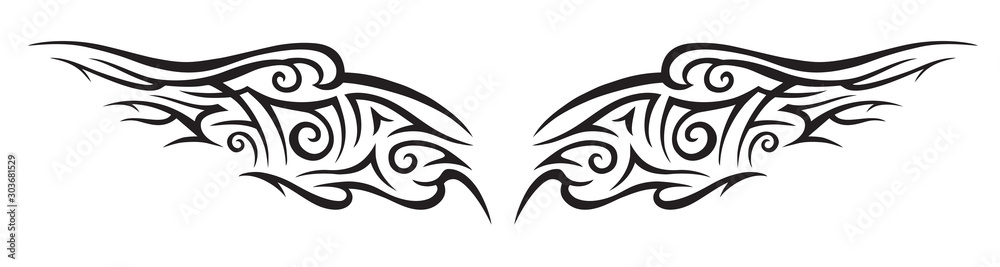 Fototapeta Graphic abstraction in the form of wings, tattoo, vector black and white illustration.