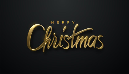 Holiday Christmas lettering. Vector 3d illustration of realistic golden sign. Calligraphic banner design. Winter festive event. Merry Christmas.