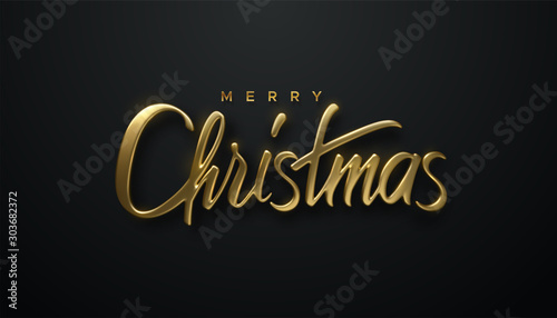 Holiday Christmas lettering. Vector 3d illustration of realistic golden sign. Calligraphic banner design. Winter festive event. Merry Christmas. - 303682372