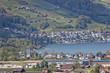 Giswilの街並みとザルナー湖 スイス Giswilサービスエリアより