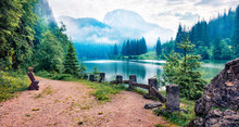 Amazing Morning View Of Lacu Rosu Lake. Picturesque Summer Scene Of Harghita County, Romania, Europe. Beauty Of Nature Concept Background.