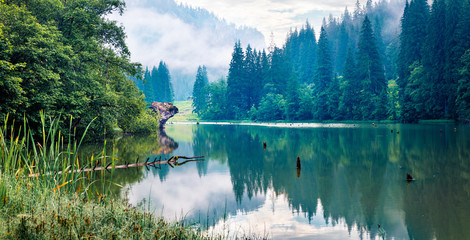 Captivating morning view of Lacu Rosu lake. Fabulous summer scene of Harghita County, Romania, Europe. Beauty of nature concept background.