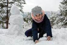 Little Cute Girl And Snowman I...