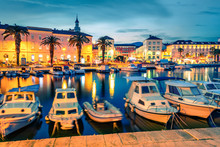 Impressive Evening Cityscape Of Split Town. Picruresque Summer Sunset In Croatia, Europe. Beautiful World Of Mediterranean Countries. Traveling Concept Background.