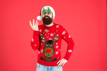 Ho Ho Ho. Winter Holiday. Cold Season Clothes. Happy New Year. Bearded Santa Man Party Glasses. Serious Santa Ready To Celebrate Xmas. Its Time For Christmas. Man Reindeer On Knitted Sweater