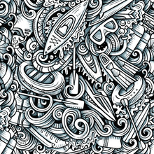 Water Extreme Sports Vector Hand Drawn Doodles Seamless Pattern.