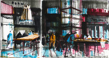 Old Cafe Visitors Watercolor H...