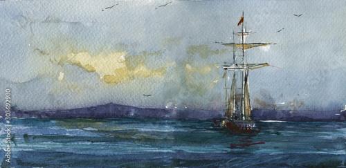 Foto auf Leinwand Rosa dunkel Sailboat in sea hand drawn watercolor illustration
