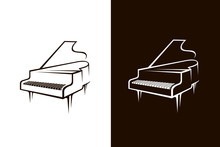 Illustration Of Piano Isolated On White And Black Background