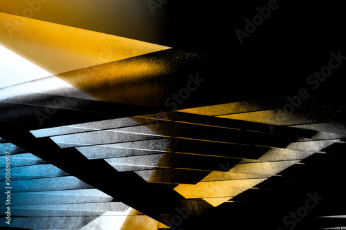 Reworked close-up photo of metal lath structure in morning light Wallpaper Mural