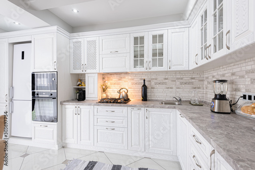 Obraz modern white wooden kitchen interior - fototapety do salonu