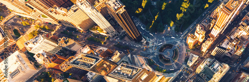 Fotografía  Aerial view of Columbus Circle and Central Park in New York CIty at sunset