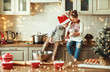 Leinwanddruck Bild - happy children boy and girl bake christmas cookies