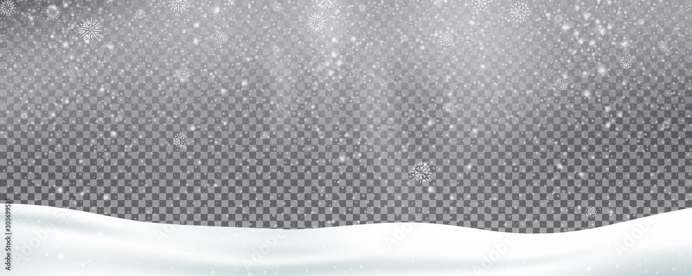 Fototapeta Snow background overlay. Realistic snow. Winter Christmas and New Year snow decoration