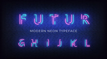 Neon Light Alphabet Font. Glow...
