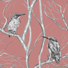 Vintage Seamless Pattern. Kingfisher Birds Sitting On Tree Branches. Pencil Drawing On A Pink Background. Beautiful Gentle Background. Sketch Style. For A Postcards, Wrapping Paper, Invitations, Etc.